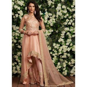Peach Embroidered High Low Anarkali
